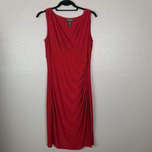 Lauren Ralph Lauren Red Ruched Sheath Dress 10